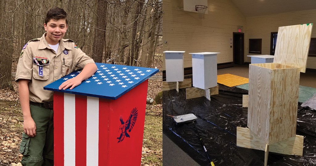 Life Scout creates flag retirement boxes for his community and shares how you can make them, too