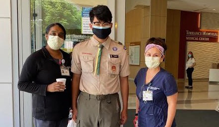 Life Scout Ryan Tsuneishi delivers face shields to Torrance Memorial Medical Center.