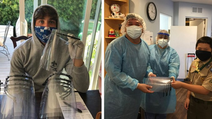 Left: Life Scout Holden Sanderson holds completed face shields. Right: Tenderfoot Mark Chang delivers face shields to a local hospital.