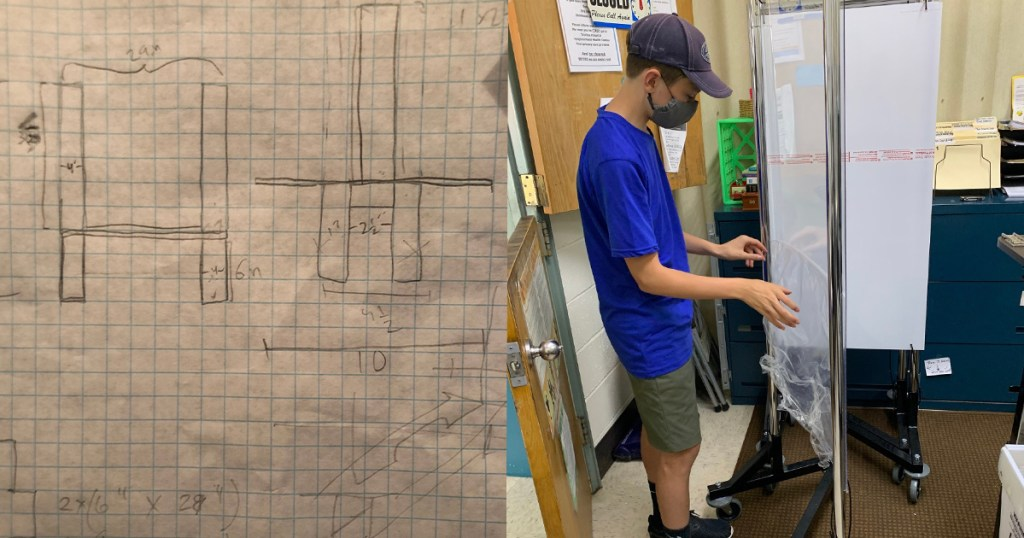 Left: Lucas' plans for his Eagle project. Right: Lucas assembles a free-standing shield.