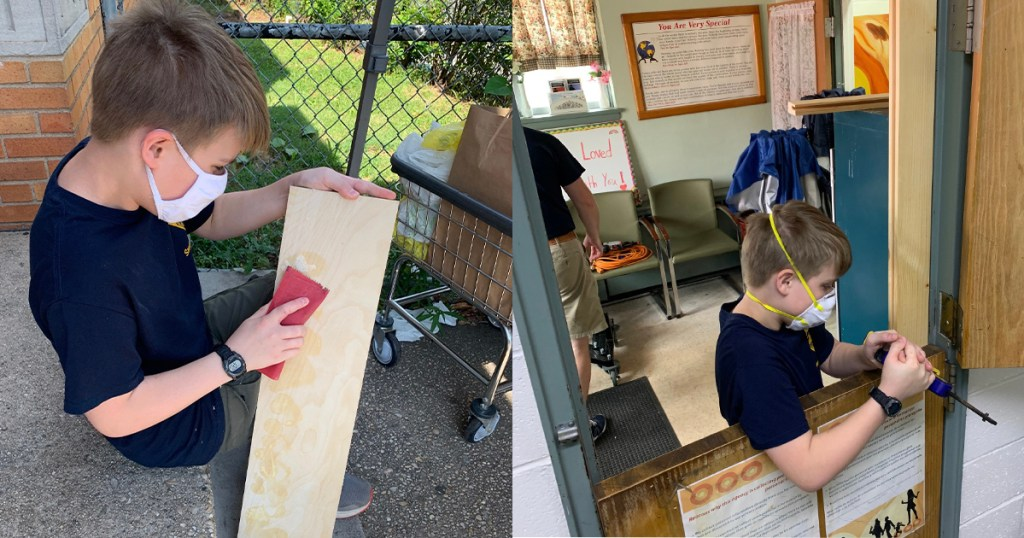Lucas enlisted the help of his cousin Nathan, seen here working on the shield and frame for the Dutch door.
