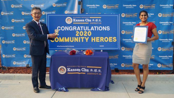 In October, Nethra Srinivasan, a Health Care Explorer, received a 2020 Community Heroes Award from Assemblymember Kansen Chu.