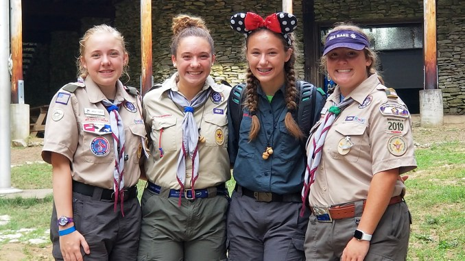 Troop 2019's soon-to-be Eagle Scouts, from left: Lindsay Parker, Kenzie Neal, Taylor Bell and Morgan Phillips.