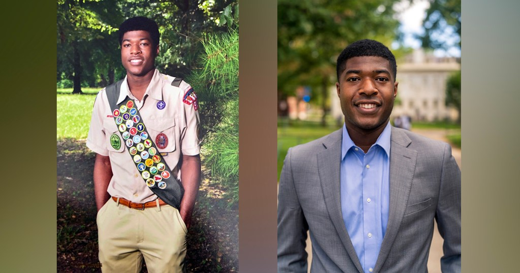 Noah Harris, Harvard's student body president, is an Eagle Scout