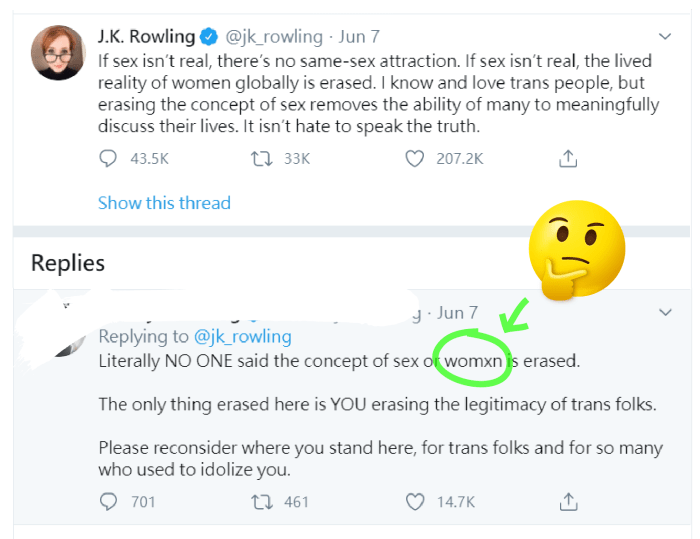 JK Rowling and dissent opinion
