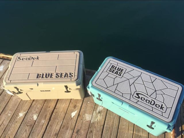 two custom seadek yet coolers in storm gray over black and camel over mocha
