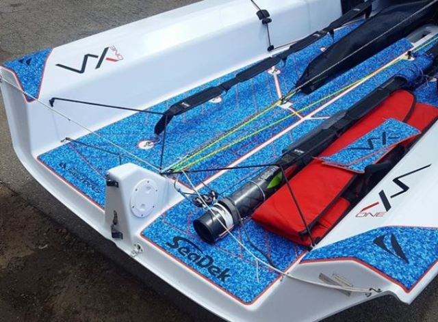 photo of sailboat with custom seadek done by Performance Sailtools
