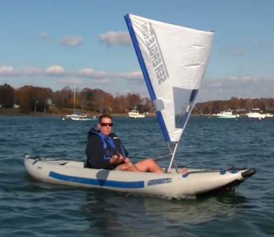 Sea Eagle's new QuickSail quickly mounts to any Sea Eagle kayak. It puts the wind to work. Fewer paddle strokes, more fun.