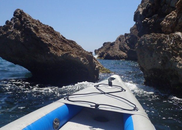 Turbulent passages: no problem. You can paddle around these outcroppings, but it's a lot more fun going through the surf in our Sea Eagle FastTracks. Some of these areas are absolutely pristine.
