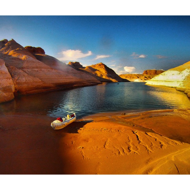 """The Earthblazers kayaked into Lake Powell's slot canyons, a remarkable maze of waterways. I found this canyon as the sun was setting,"" says Ryan."