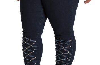 Plus Women's Poetic Justice Zaire Laser Cut Stud Skinny Jeans