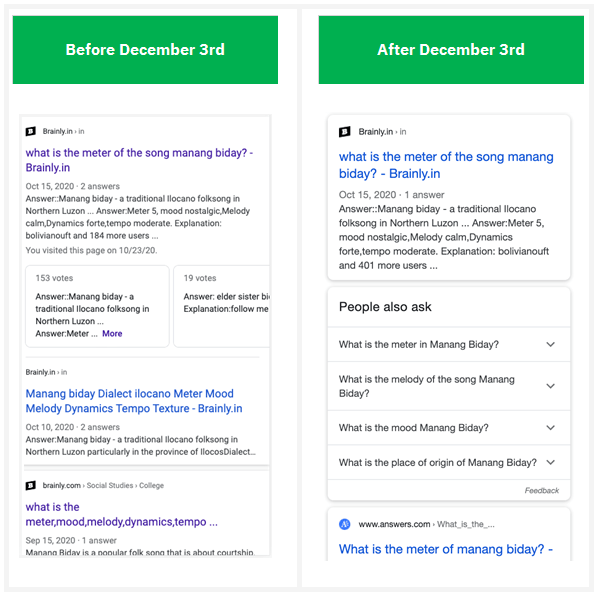 Google Update December 2020: Possible Impact to Stacked Listings