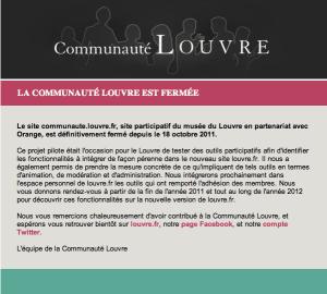 Page d'accueil de la Communauté Louvre, novembre 2011