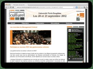 Capture d'écran, site des Journées du management culturel