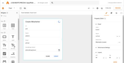 Google App Maker - create a form (step 2)