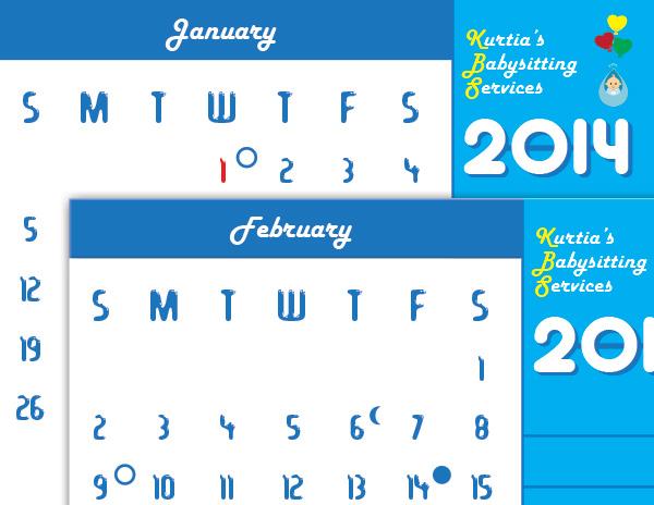 2014 Calendar Kurtia's Babysitting Services
