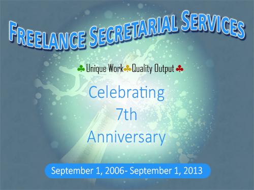 Freelance Secretarial Services 7 year anniversary