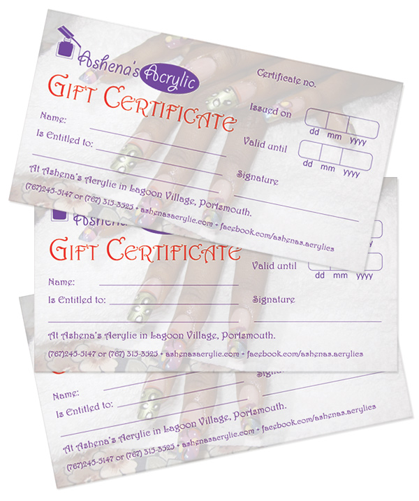 Ashena's Acrylic Gift Certificates