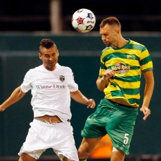 APRIL 25, 2015 - ST. PETERSBURG, FLORIDA: The Tampa Bay Rowdies match against the Jacksonville Armada at Al Lang Field. The Rowdies won the match 3-2. Photo by Matt May/Tampa Bay Rowdies