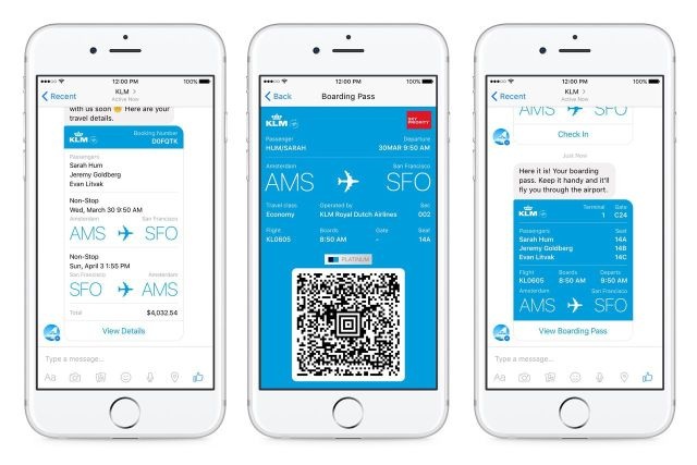 Boarding Passes Sent Over Facebook Messenger