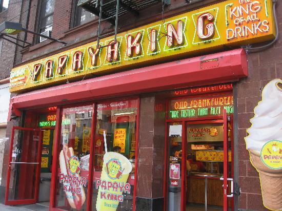 Facade of Papaya King Restaurant, Times Square
