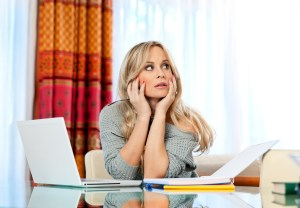 attractive woman writer thinking