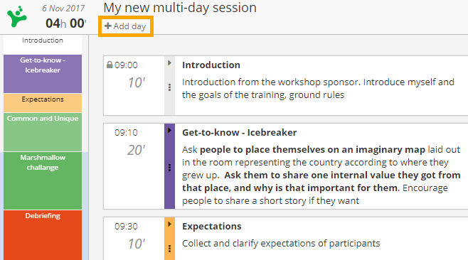 Multiday workshop agenda