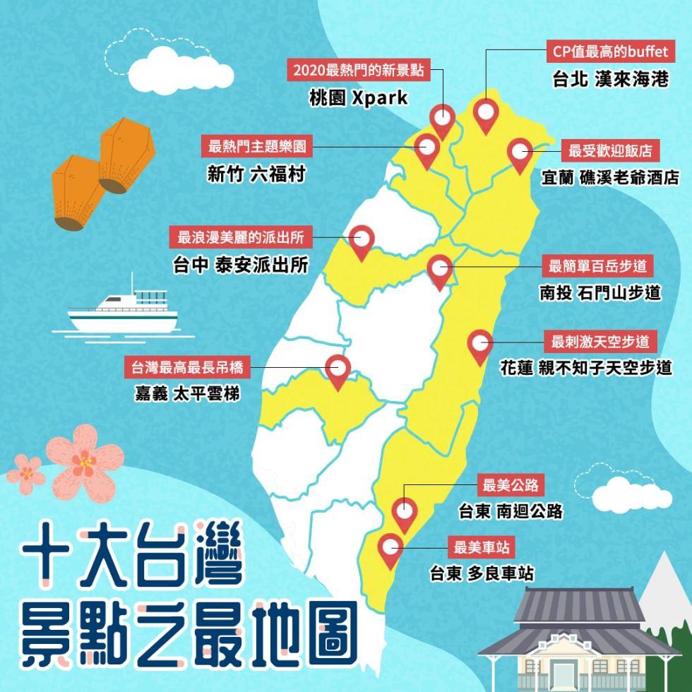 十大台灣景點之最地圖   東南旅遊