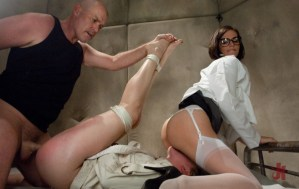 Ward patient is fucked by her doctor and his secretary straddles her face wearing stockings