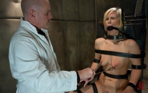 Dominant doctor straps down blonde, gags her and clamps her nipples