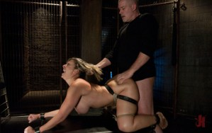Busty blonde gets her ass pounded from behind while having her hair pulled