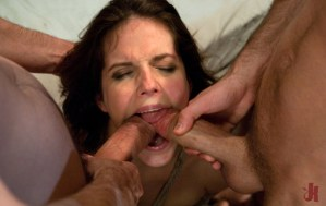 Greedy patient tries to take her boyfriend and her doctor's cock in her mouth at the same time in anal sex