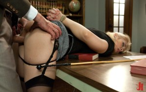 Blonde school girl is fucked in the principle's office for being disobedient in bondage extreme sex