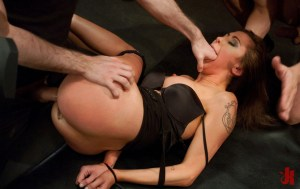 Tied up, submissive whore gets her mouth gagged and her ass fucked by two horny men