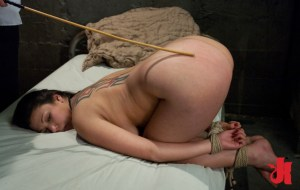 Curvy, tattooed woman gets her hands and feet tied up while getting her ass caned with a stick