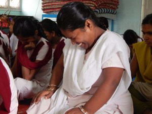 Pavitra, one of the participants at Andheri Industrial Home for Blind Women, blushing a lot.