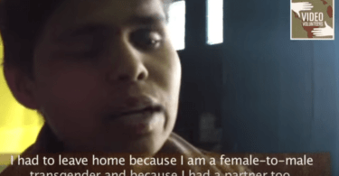 "A screenshot from the video of Kiran, with English subtitles saying ""To tell you the truth, the media covered the story in both a good and bad light."""