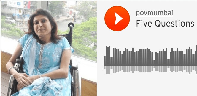 A SoundCloud screenshot, which shows a photo of Neenu Kewlani sitting in a balcony on a wheelchair.