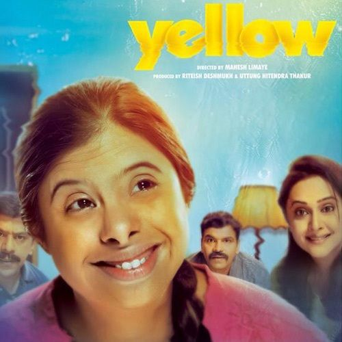 "The poster of the movie Yellow. In the foreground there is a girl looking away from the camera and smiling. On the left hand corner on the top the word 'Yellow' is written in bold and under it in smaller text is written 'Directed by Mahesh Limaye. Produced by Rithesh Deshmukh and Uttung Hitindra Thakur"". In the Background on her right is a woman staring at her and smiling behind her is a lamp and a man, the man is looking at her intrigued. On the girl's left side is a man staring at her in an unfriendly and confused manner."