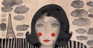 A black and white painting of a woman in a polka dotted dress with red lipstick and red cheeks and clouds and a tower in the background by Valerie Galloway
