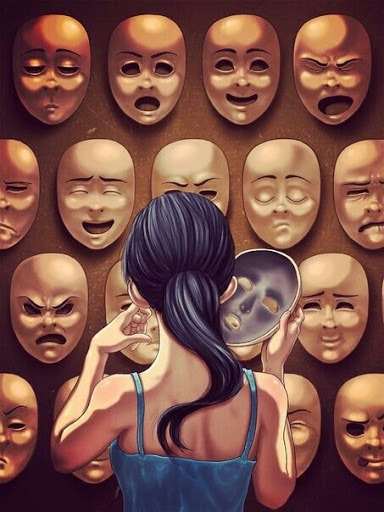 A painting of a woman facing a wall of masks with different expressions, her back is turned towards the viewer as she removes one mask.