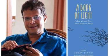 On the left, a picture of author Jerry Pinto. On the right, the cover of 'A Book of Light'.