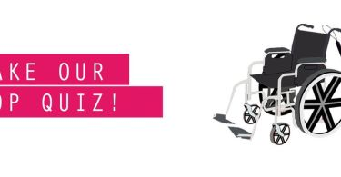 An illustration featuring a wheelchair and a cane to the right, and text saying 'Take Our Pop Quiz!' to the left.