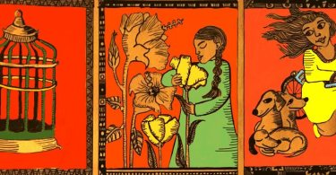 The illustration is divided into three panels against a bright red background. The first panel has a green and orange coloured bird cage. The second panel has a woman dressed in green with yellow and orange flowers on her left as she smells the yellow flower. The third panel has a woman dressed in a yellow and orange salwar-kameez, riding a blue bicycle as she looks lovingly at three, seated orange-coloured dogs.
