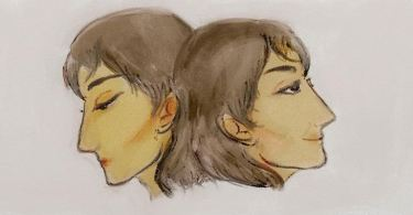 The illustration shows two sides of the same woman's face – one, pointing to the left, looks dejected, while the other, pointing to the right, looks serene and peaceful.