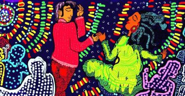 Under shiny disco lights, a man dressed in red holds the hand of a woman dressed in green. The woman is dancing with complete abandon, her head tipped back. Around them, indistinguishable figures dance.