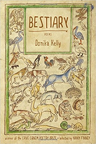 The cover of Donika Kelly's Bestiary, which shows a number of animals against a light yellow background.