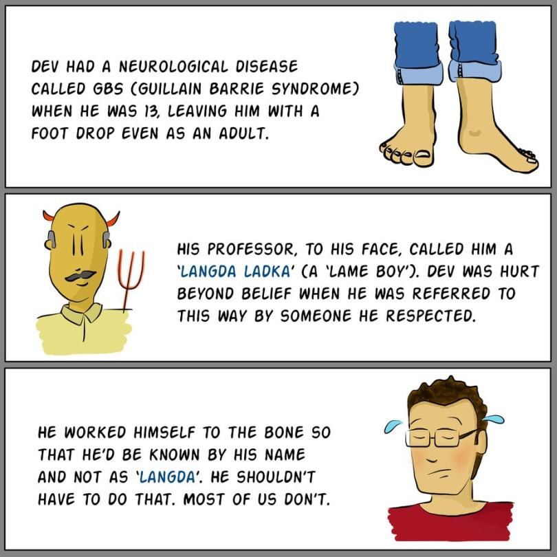 Panel A: Illustration of two legs with rolled up jeans. One foot is straight, the other is dropped at a slight angle. Text reads: Dev had a neurological disease called GBS (Gullian Barrie Syndrome) when he was 13, leaving him with a foot drop even as an adult. Panel B: Illustration of the torso of a bald, middle-aged man with devil's horns and trident. Text reads: His professor, to his face, called him a 'langda ladka' (a 'lame boy'). Dev was hurt beyond belief when he was referred to this way by someone he respected. Panel C: Illustration of a young man who is sweating and looks worn out. Text reads: He worked himself to the bone so that he'd be known by his name and not as 'langda'. He shouldn't have to do that. Most of us don't.