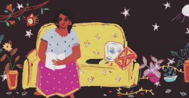 A person sits at one end of a yellow couch, a book on their lap. There are various brightly coloured pots of plants on the ground and leaves scatter the floor. The background is dark and filled with big stars. The moon shines brightly in the corner.