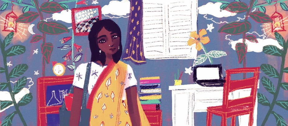 A person wearing a yellow sari with a bag on their shoulder stands smiling at the centre of the illustration. The background is filled with plants, a pile of books, a desk and chair, a #DalitHistoryMonth poster and clouds and stars in the blue sky.